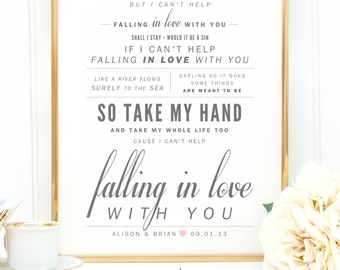 Wedding gift first song lyrics 3d paper art first paper ingrid michaelson elvis presley cant help falling in love valentines stopboris Image collections