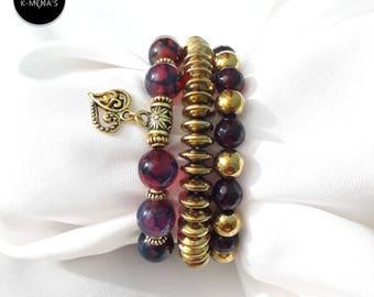 Purple Stone bracelet stack