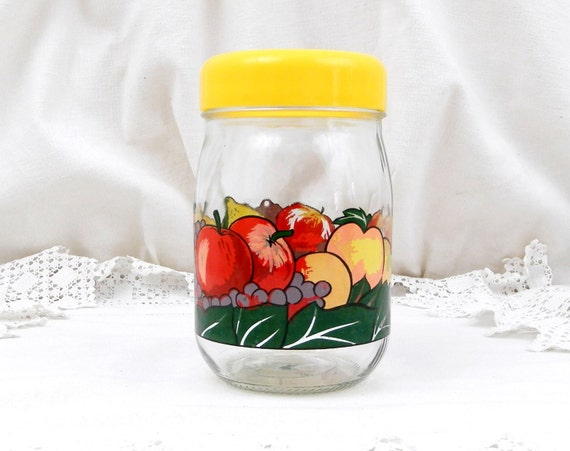 Vintage French Airtight Le Parfait Storage Jar with Retro Printed Fruit Pattern and Yellow Lid, 1 L 1960S Retro Home Interior Kitchenware