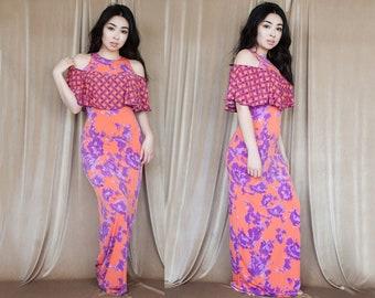Pink & Purple Abstract Off Shoulder Maxi Dress M L
