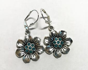 Lever Back Earrings 3D Pewter Flowers Indicolite Swarovski Crystals Robin's Egg Blue Crayon Color Choose Silver-Plated or Sterling Silver
