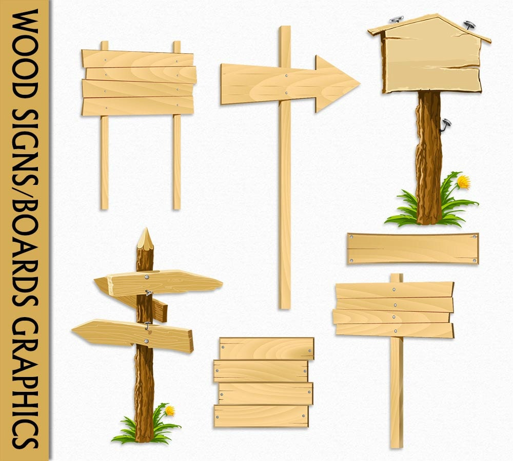 wood signs clip art graphic wooden boards clipart scrapbook rh etsy com wood signboard clipart blank wood sign clipart