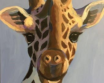 "Gentle Giraffe - Original Acrylic Painting on 12""x16"" Canvas"