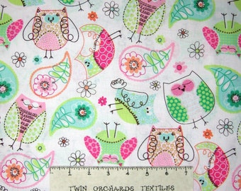 Baby Fabric - Green Pink Blue Owl & Paisley Toss on White - 3 Wishes YARD