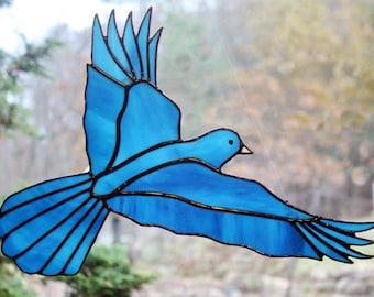 Stained Glass Bluebird, Large Bird Suncatcher, Glass Art, Wildlife Art, Bird Lovers Gift