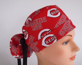 Cincinnati Reds fabric Ponytail - Womens lined surgical scrub cap, scrub hat, Nurse surgical cap, F+2160 W