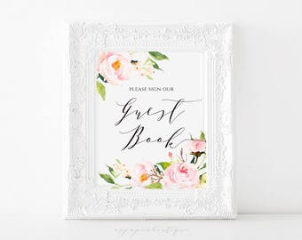 Pink Peony Wedding Guest Book Sign Please Sign Our Guestbook Sign Printable Guest Book Sign Wedding Guest Book Sign GB01