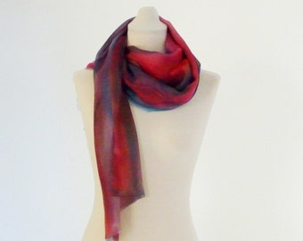 Silk painting scarf, Burgundy Wine scarf, Blue silk scarf, modern scarf, ombre silk scarf, colored silk scarf