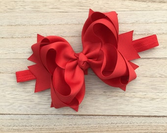 Double stacked hair bows, big hair bows, red hair bows, red headbands, summer hair bows, double stack headbands, red bows, red hair bows