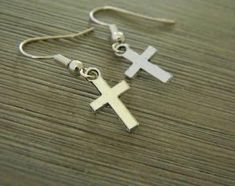 Small Simple Cross Earrings Silver Color Dangle Earrings