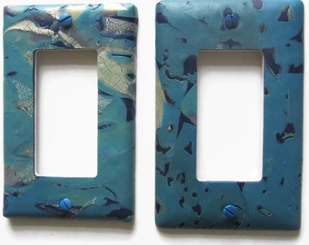 Light Switch Cover, Rocker Switchplate, Single Switch Plate, Shades of Blue with Silver Accents
