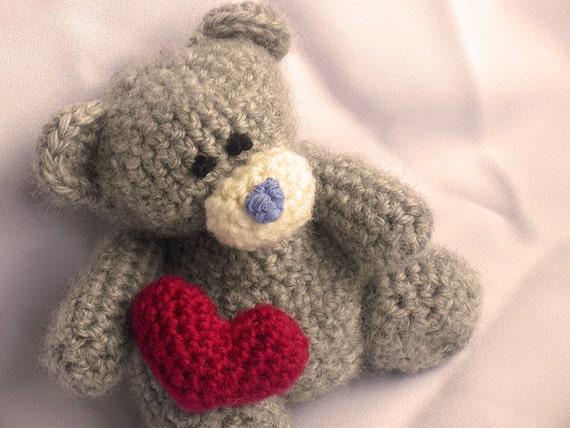 Amigurumi Panda Bear Crochet Pattern : Teddy bear with heart crochet pattern teddy bear crochet pattern