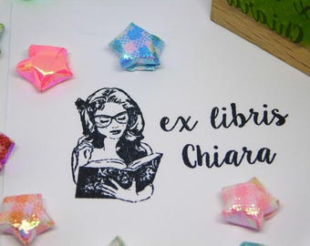 EX LIBRIS STAMP with girl reading