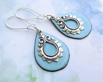 Silver Lotus earrings yoga jewelry Robins egg blue earrings Enamel Jewelry