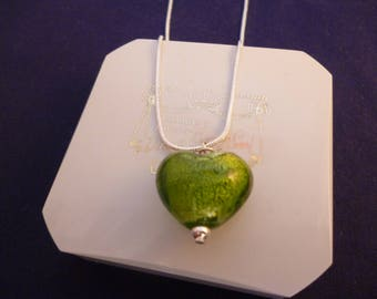 """Green murano glass heart pendant necklace - 925 - sterling silver - 1"""" pendant - 16"""" necklace - g"""