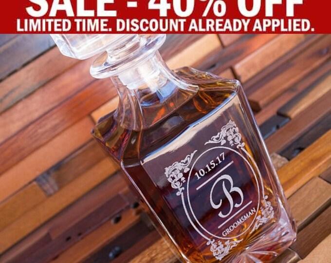 Groomsmen Glass Decanter, Groomsman Whiskey Gift Set, Whiskey Stones, Bourbon Decanter, Whiskey Carafe, Whiskey Holder, Man Gift Idea D01