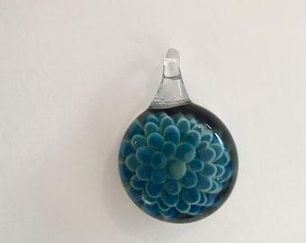 Handmade dark blue glass flower pendant