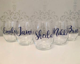 Custom wine glass, custom name glasses, custom name wine glasses, custom wine glasses, custom wine gifts for women, custom wedding glasses