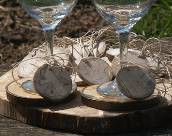 Rustic Wine Glass Tags Slices 40 Spalted Maple Tags  DRIED Wood Blanks- Woodland Weddings- 1 and 3/4 inch Dia Name Tags-Wedding Decor