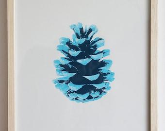 Zapfen - blau, Siebdruck