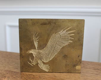 Solid Brass Eagle Printing Plate