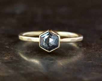 Hexagon Engagement Ring, Rose Cut Deep Gray Diamond, 18k Yellow Gold Band, Unique Engagement Ring, Hexagonal Diamond, Conflict Free