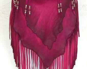 "Designer Leather Purse Fringe Handbag Artisan Hippie Retro Hot Pink Leather Bag ""CHERRY BOMB"" Handmade by Debbie Leather"
