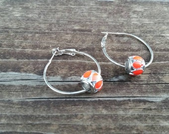 Silver and Orange Hoop Earrings with Large Hole Eurpoean Bead Charm Accents - Gifts for her