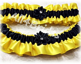 Wedding leg garter set, yellow and black bridal keepsake and toss garters.  Satin prom garters.