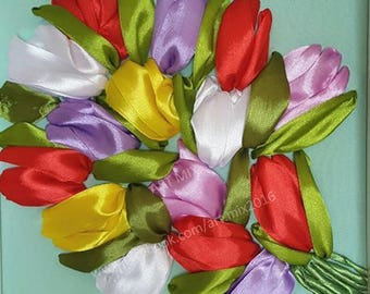 Tulips  // Satin Ribbon Embroidery // Framed // Glass cover // 25cm x 25cm