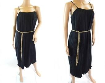 Vintage 1980s does 1920s Flapper Dress in Black & Gold - Size 10 12 UK (6/8 US)