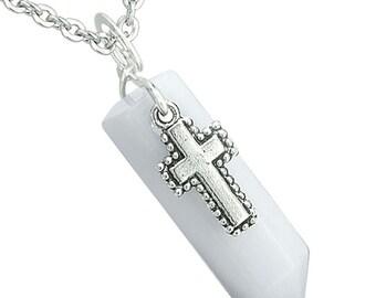 Amulet Crystal Point Wand Holy Cross Charm White Snowflake Quartz Pendant 18 Inch Necklace
