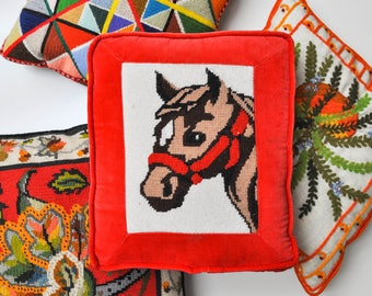 Vintage Bright Red Needlepoint Horse Pillow