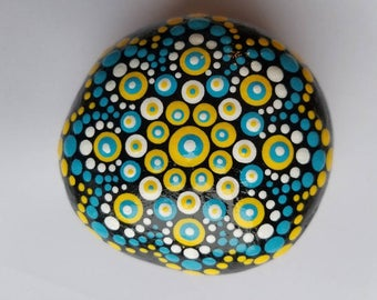 Painted Mandala Rock - Stone Pebble Kindness