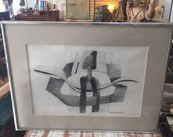 Abstract Pencil drawing by Walter Robbins