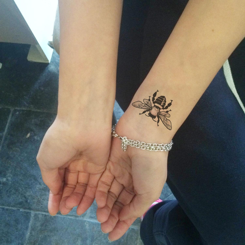 Bumble bee temporary tattoo somaarttattoo temporary tattoo for Wash off temporary tattoos
