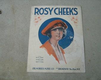 1921  vintage sheet music (  Rosy Cheeks  )
