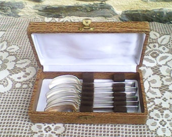 Vintage Ravinet Denfert Boxed 6 Tea/Coffee Spoon Cutlery Set, silver plate