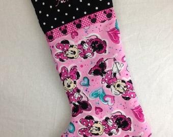 Pink and black Christmas stocking