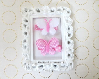 Set Of Two Butterfly Baby hair clip,baby hair bow,girl hair clip,girl hair bow,toddler hair clip, pink baby hair bow