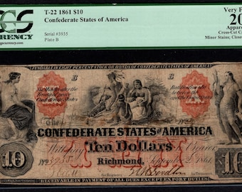 1861 Ten 10 Dollar T-22 Confederate Currency PCGS 20 APPARENT Civil War Note Item #80610716