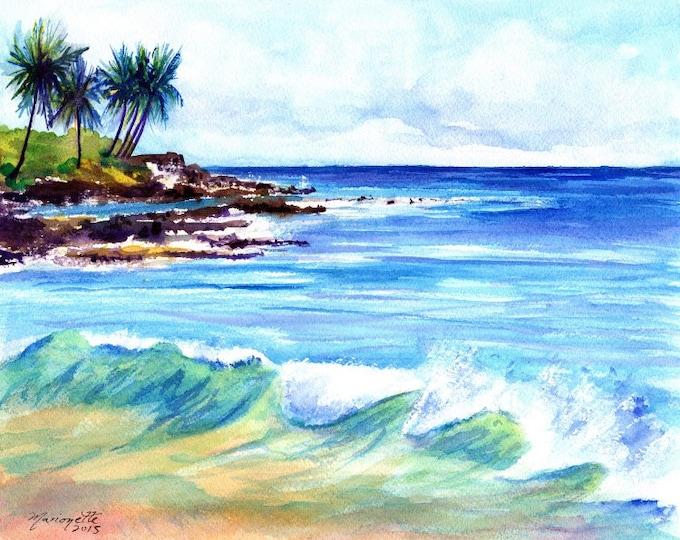 Brennecke's  Beach - Poipu Kauai Hawaii - Art Print - Beach Wave Art - Kauai Surfing Art - Beach Sand Ocean Print - Hawaiian Decor
