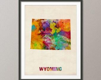 Wyoming Watercolor Map USA, Art Print (408)