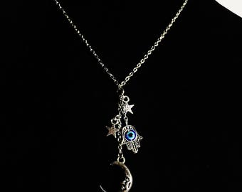 Celestial Moon and Stars with Evil Eye and Hamsa Hand Lariat Necklace