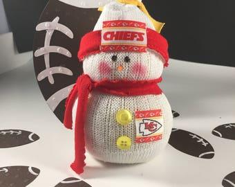 Kansas City,Snowman,Gift for Chiefs fan,Chiefs,Kansas City Chiefs clothing,Chiefs accessory,Chiefs decor,Chiefs collectible,sock snowman