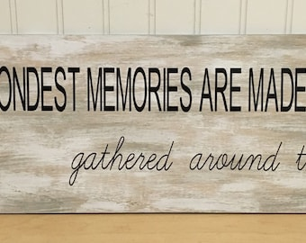 The fondest memories are made when gathered around the table wooden sign