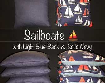 Sailboats with Solid Navy & Light Blue