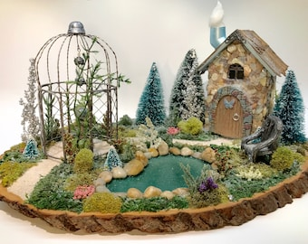 Christmas Fairy Garden with Gazebo and Shell House