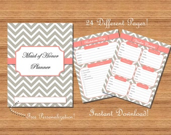 Maid of Honor Planner / Organizer - Grey and Coral Chevron