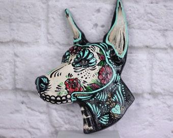 dia de los muertos dog / day of the dead  doberman / sugar skull dog / calavera dog